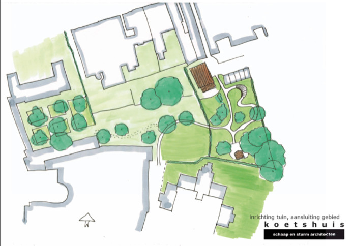 Een globale schets met rechts het testparcours van de winkel. Links daarvan de groene corridor zoals die tussen het Tongerlohuys (helemaal links) en het koetshuis moet komen te zien.