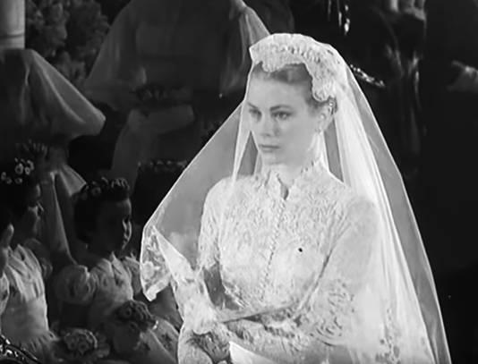 Grace Kelly tijdens haar huwelijk in 1956.