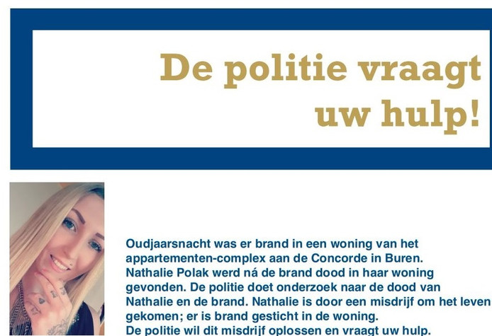 Flyer die de politie in Buren heeft uitgedeeld naar aanleiding van de moord op Nathalie Polak.