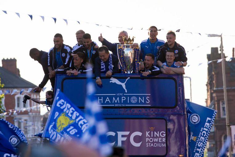 Leicester City viert het kampioenschap. Beeld anp