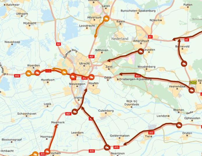 De verkeerssituatie rond Utrecht op 16-10-2019 rond 06.42 uur, tijdens het boerenprotest.