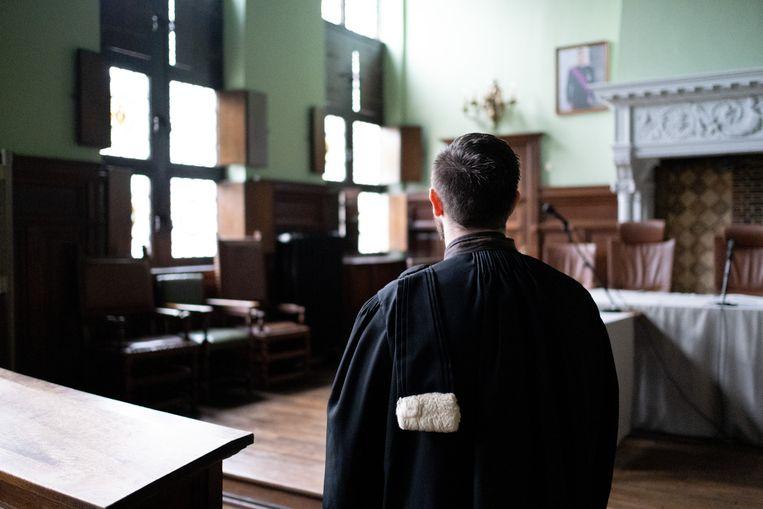 Een advocaat in de correctionele zittingszaal van de rechtbank van Mechelen