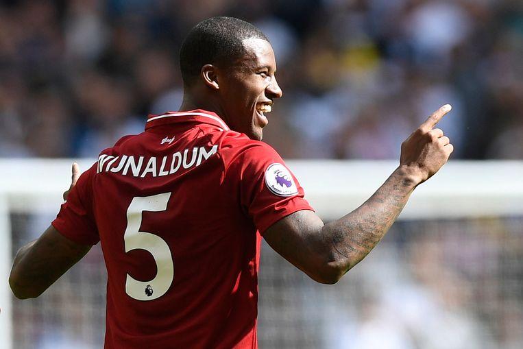 Liverpools Georginio Wijnaldum viert zijn doelpunt tegen Tottenham Hotspur. Beeld null