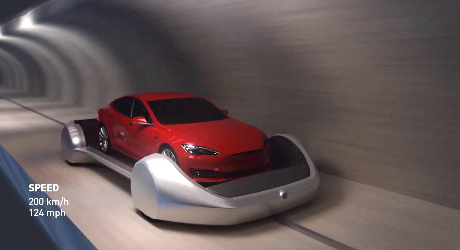 Zo moet het verkeersprobleem in LA worden opgelost, met een netwerk van kleine tunnels en auto's op elektrisch aangedreven platformen