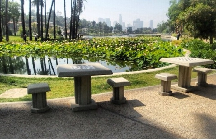 Schaaktafels zoals Vleutenaar Jesús Medina ze graag in het Máximapark wil hebben.