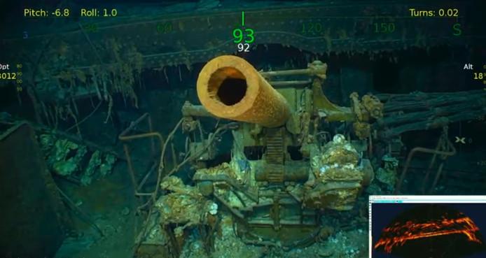 Een screenshot van de beelden van het wrak in de Koraalzee.