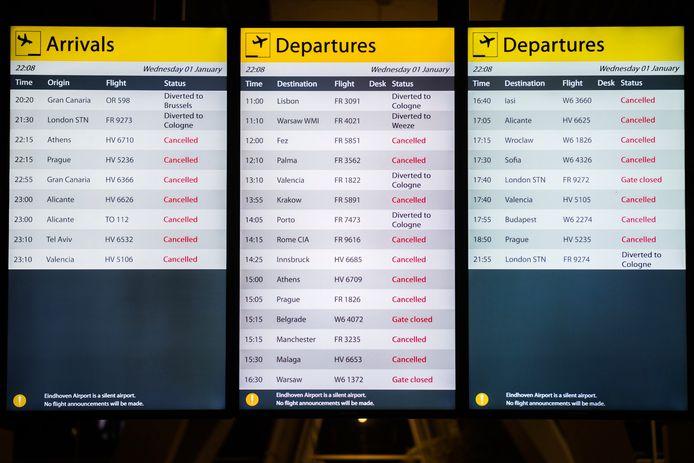Op Eindhoven Airport zijn in december en rond de jaarwisseling tientallen vluchten geannuleerd als volg van dichte mist.