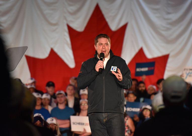 Andrew Scheer is de leider van de Conservatieve Partij waar Trudeau het maandag tegen opneemt. Beeld AFP