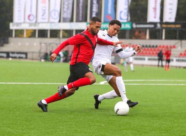 Joël Tillema van AFC tijdens de wedstrijd tegen ASWH. Beeld BSR Agency