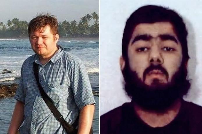 De Poolse keukenmedewerker Lukasz Koczocik en terrorist Usman Khan.