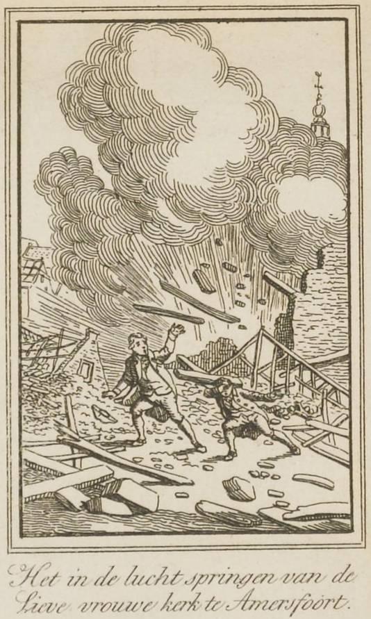 Een tekening van de ontploffing in 1787.