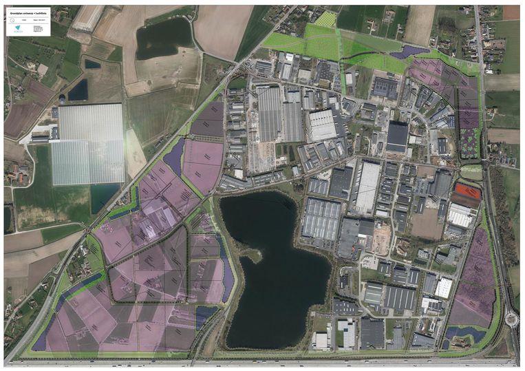 Gebieden in het paars: hier komt de uitbreiding van het bedrijventerrein.