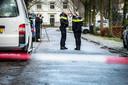 Agenten op straat in Leersum, na de dodelijke schietpartij in het dorp.
