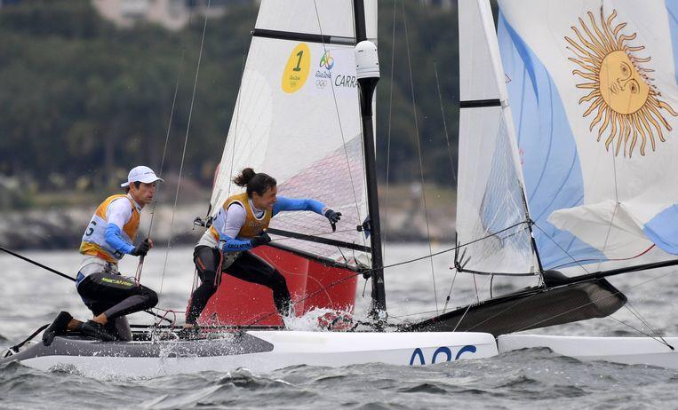 Zeilen had bij de Spelen van Rio in 2016 met de Nacra17 voor het eerst een klasse met een man en een vrouw aan boord. Beeld Hollandse Hoogte / VI Images