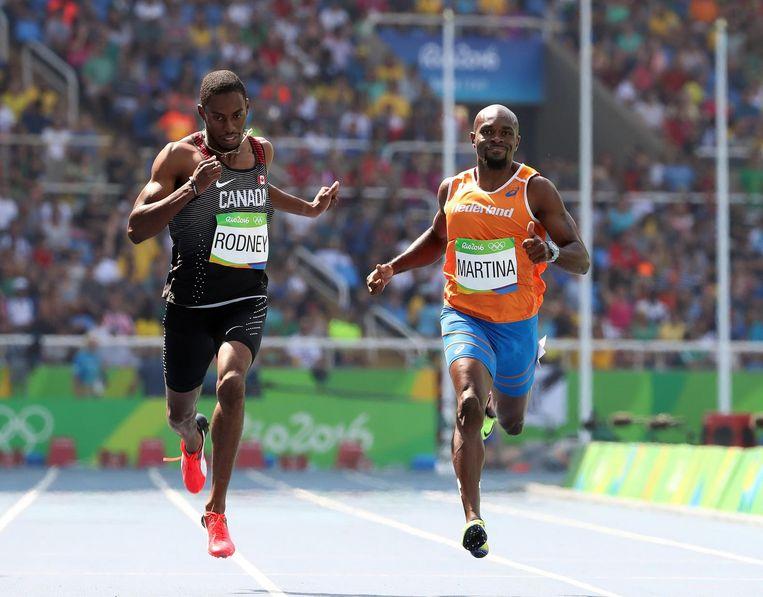 Churandy Martina tijdens de series van de 200 meter. Beeld epa