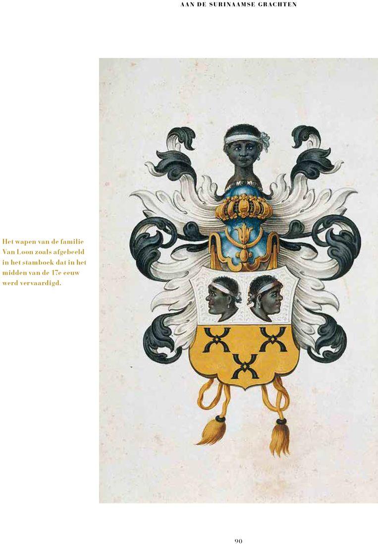 Het wapen van de familie Van Loon zoals afgebeeld in het stamboek dat in het midden van de 17e eeuw werd vervaardigd. Beeld Museum Van Loon