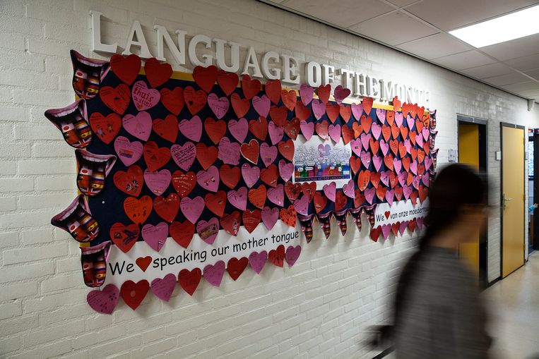 'Language of the month' op een internationale school in Groningen. Beeld Harry Cock / de Volkskrant