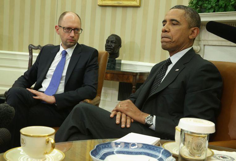 Obama en de Oekraïense interim-president Jatsenjoek, gisteren. Beeld getty