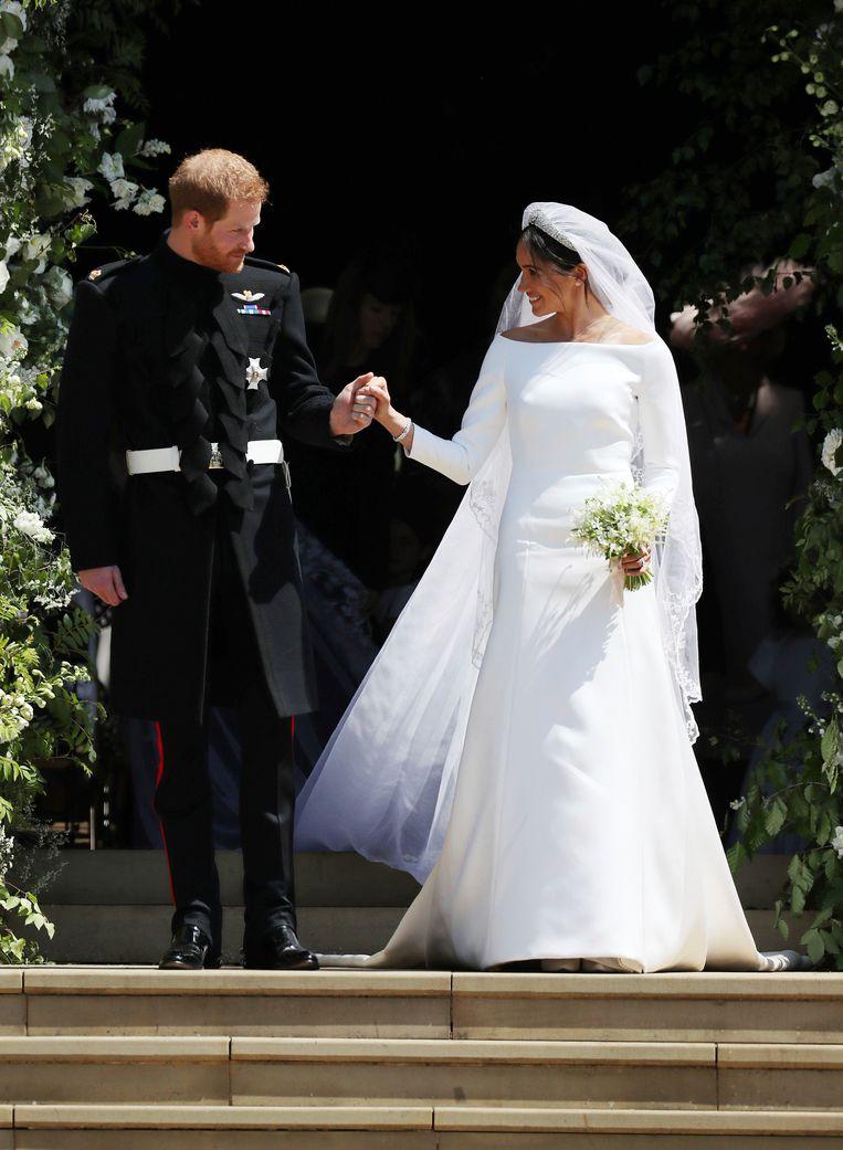 De net getrouwde Meghan Markle en prins Harry. Beeld AP