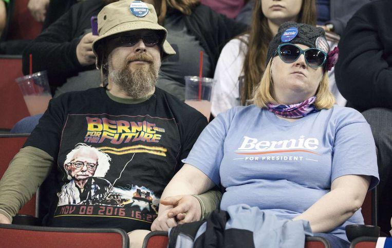 Supporters van Sanders bij een verkiezingsbijeenkomst vorige week. Beeld Afp