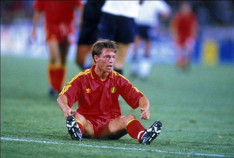 Nico Claesen tijdens Engeland-België in 1990.