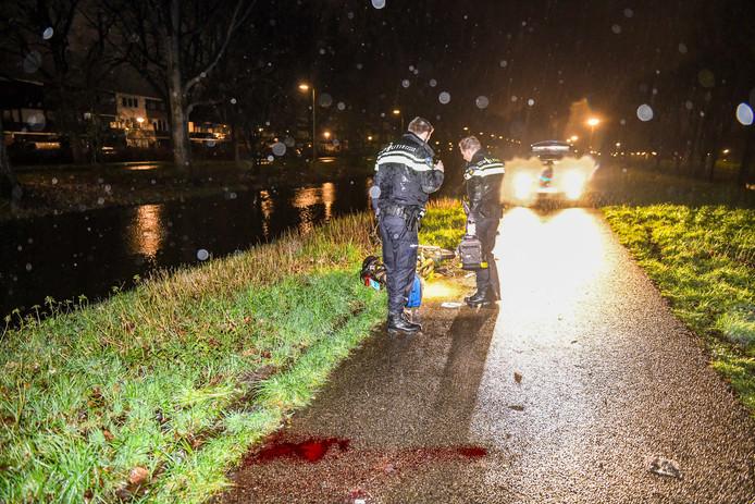 Bloed op de weg na de aanrijding van een hond door een brommerrijder in Alphen.