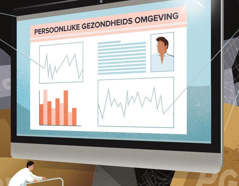 Uiterlijk in 2020 kan elke Nederlander vanaf de computer, tablet of smartphone zijn eigen medische gegevens inzien in de Persoonlijke Gezondheidsomgeving PGO. Beeld Studio Vonq