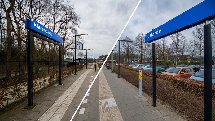 Het station van het Gelderse Klarenbeek (links) behoort volgens NS onderzoek tot de best gewaardeerde stations van Nederland en dat van het Veluwse 't Harde (rechts), tot de minst gewaardeerde. Vreemd, want ze lijken best veel op elkaar.