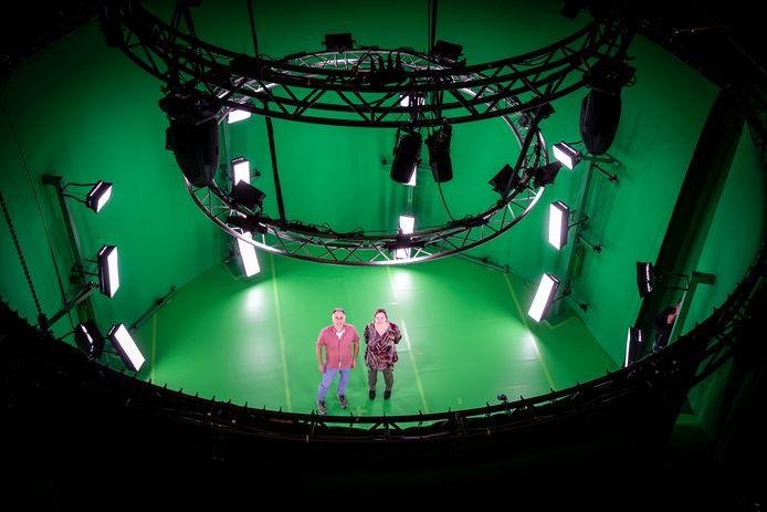 De 360-graden filmstudio in de Effenaar waarin mensen in 3D kunnen worden gedigitaliseerd.