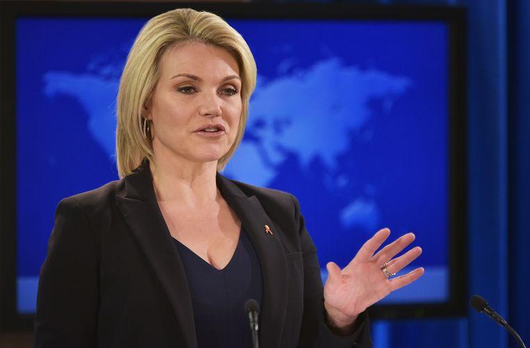 Woordvoerder Heather Nauert tijdens een persconferentie van het ministerie van Buitenlandse Zaken.  Beeld null