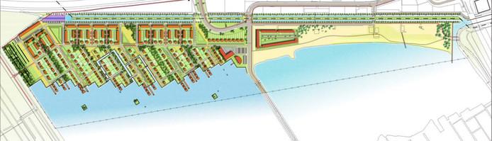 Zo moet de indeling van het project Haarrijn eruit komen te zien, met een aantal woningen op het strand en op het water.