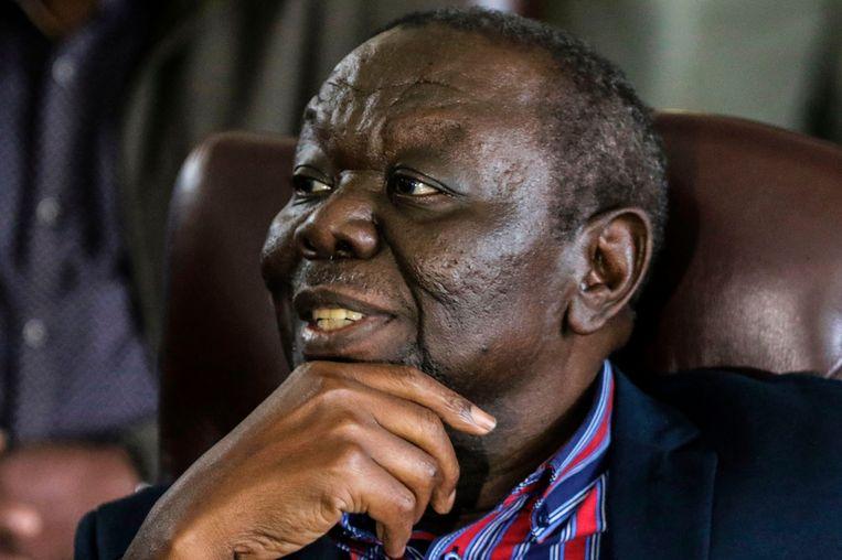 Morgan Tsvangirai op 16 november in Harare: hij riep op tot het vertrek van Mugabe. Zijn partij MDC heeft na een bloeiperiode in de eerste tien jaar van deze eeuw veel aanhang en aanzien verloren. Beeld afp