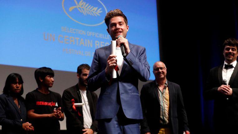 Girl-regisseur Lukas Dhont vrijdag in Cannes. Beeld epa
