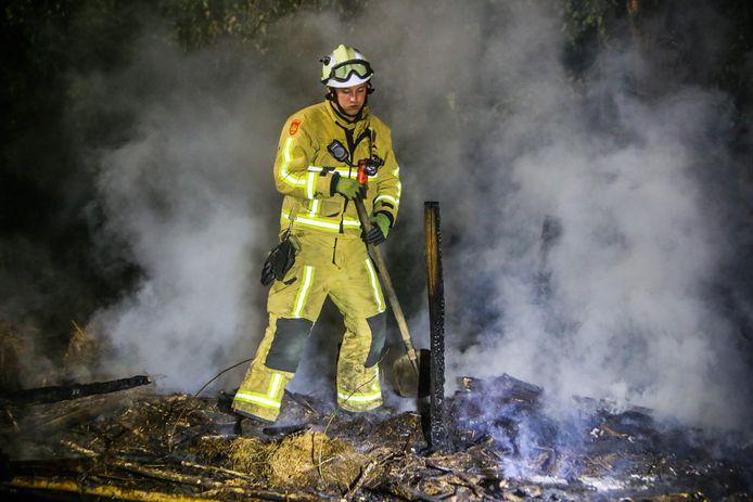 Brand in groenstrook bij Helmond