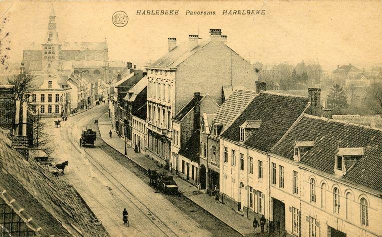 Stadsarchief Harelbeke, Zicht op het stadscentrum, 1918.