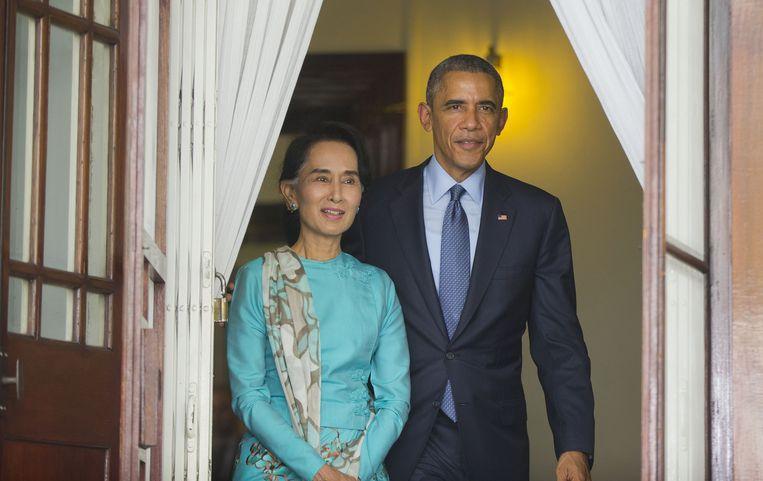 Birma's oppositieleider Aung San Suu Kyi met de Amerikaanse president Obama. Beeld ap