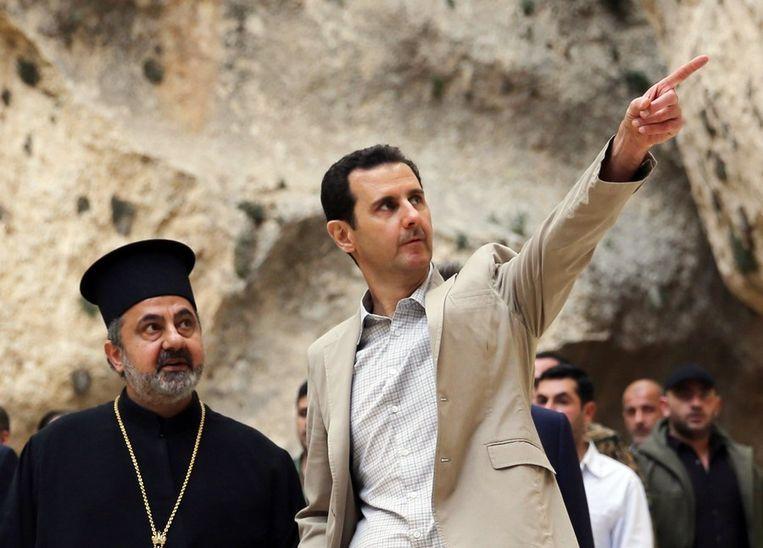 De Syrische president Bashar al-Assad afgelopen april in Maalula. Beeld afp