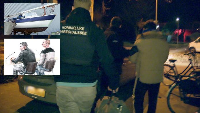 De verdachten tijdens de zitting en de zeilboot waarmee ze met 24 migranten naar Engeland wilden varen.
