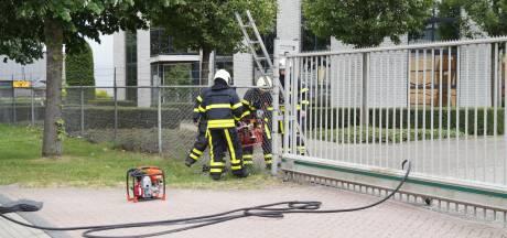 Rookwolkje boven houtbedrijf Schenk in Waalwijk door brandende container