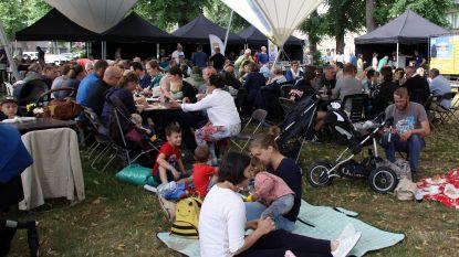 Gezellige picknick op het dorpsplein