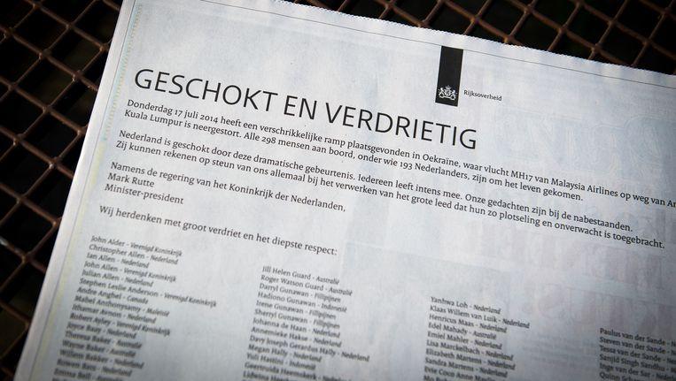 De advertentie die vandaag in alle grote kranten staat, namens de regering Beeld ANP