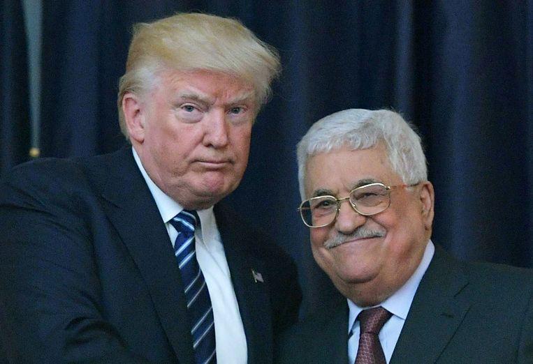 Donald Trump en Mahmoud Abbas, president van de Palestijnse Autoriteit.