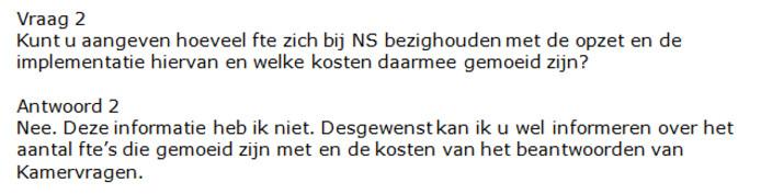 Antwoord op vragen van het lid Van Aalst over het bericht 'Ook NS stopt nu met 'dames en heren'.'