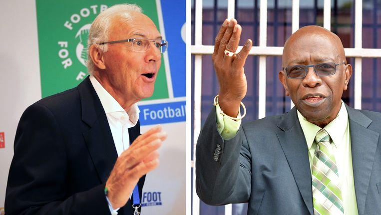 Frans Beckenbauer (L) en Jack Warner Beeld epa