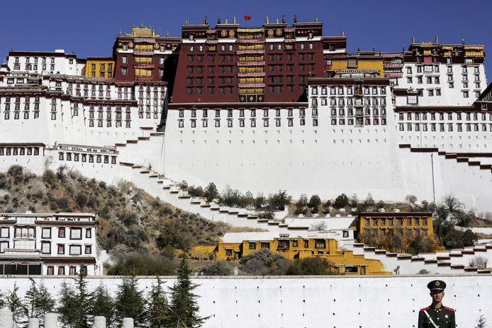 Een paramilitaire politieagent staat op de wacht voor het Potala Paleis in Lhasa in Tibet.