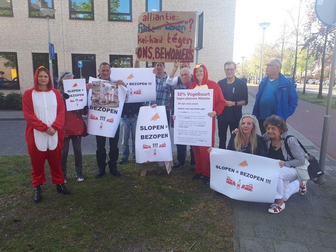 Bewoners van de Vogelbuurt in Amersfoort protesteerden begin dit jaar ook al tegen de plannen van De Alliantie.