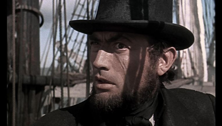 Gregory Peck als kapitein Ahab in Moby Dick (1956) van John Huston. Beeld null
