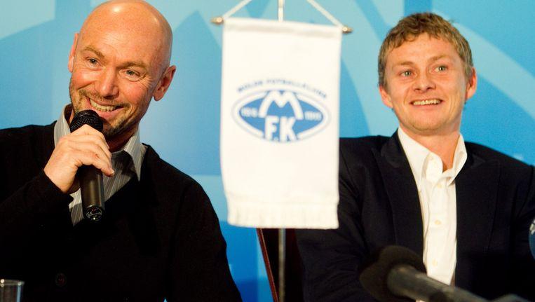 Ole Gunnar Solskjaer, rechts. Beeld epa