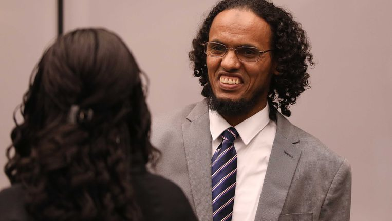 De Malinees Ahmad Al Faqi Al Mahdi die vandaag negen jaar cel kreeg opgelegd van het Internationaal Strafhof. Beeld ANP