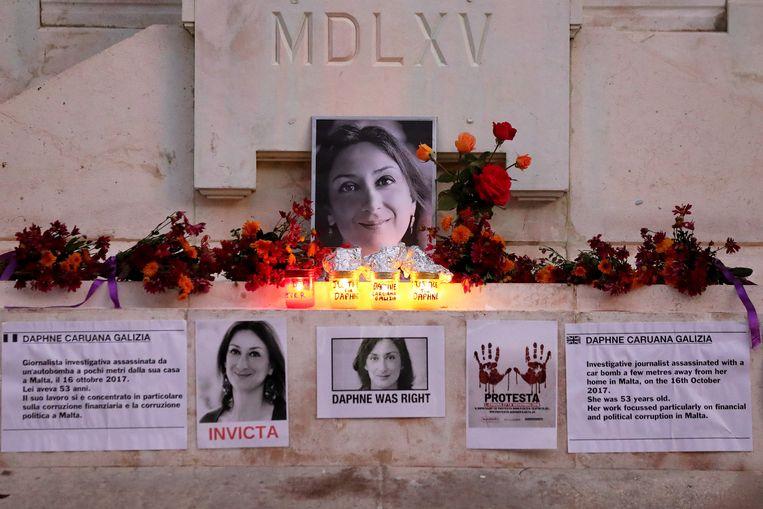 Gedenkplek voor Daphne Caruana Galizia in Valletta , Malta. Beeld EPA